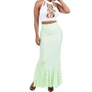 Polka Dots High Waist Mermaid Bodycon Ruffle Skirt